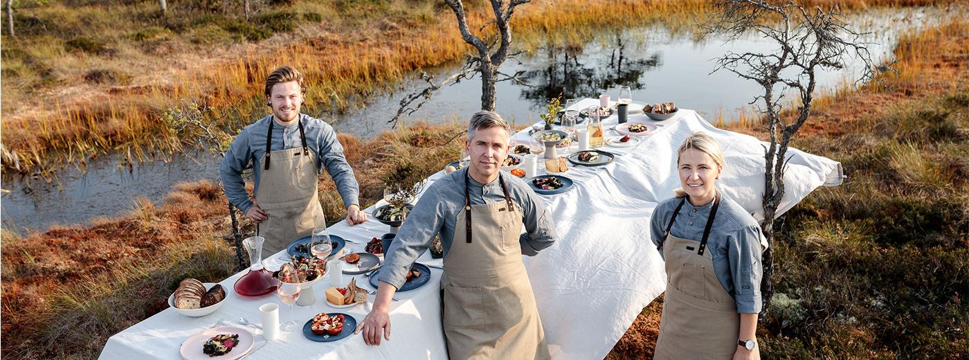 Dinner in the bog in Estonia